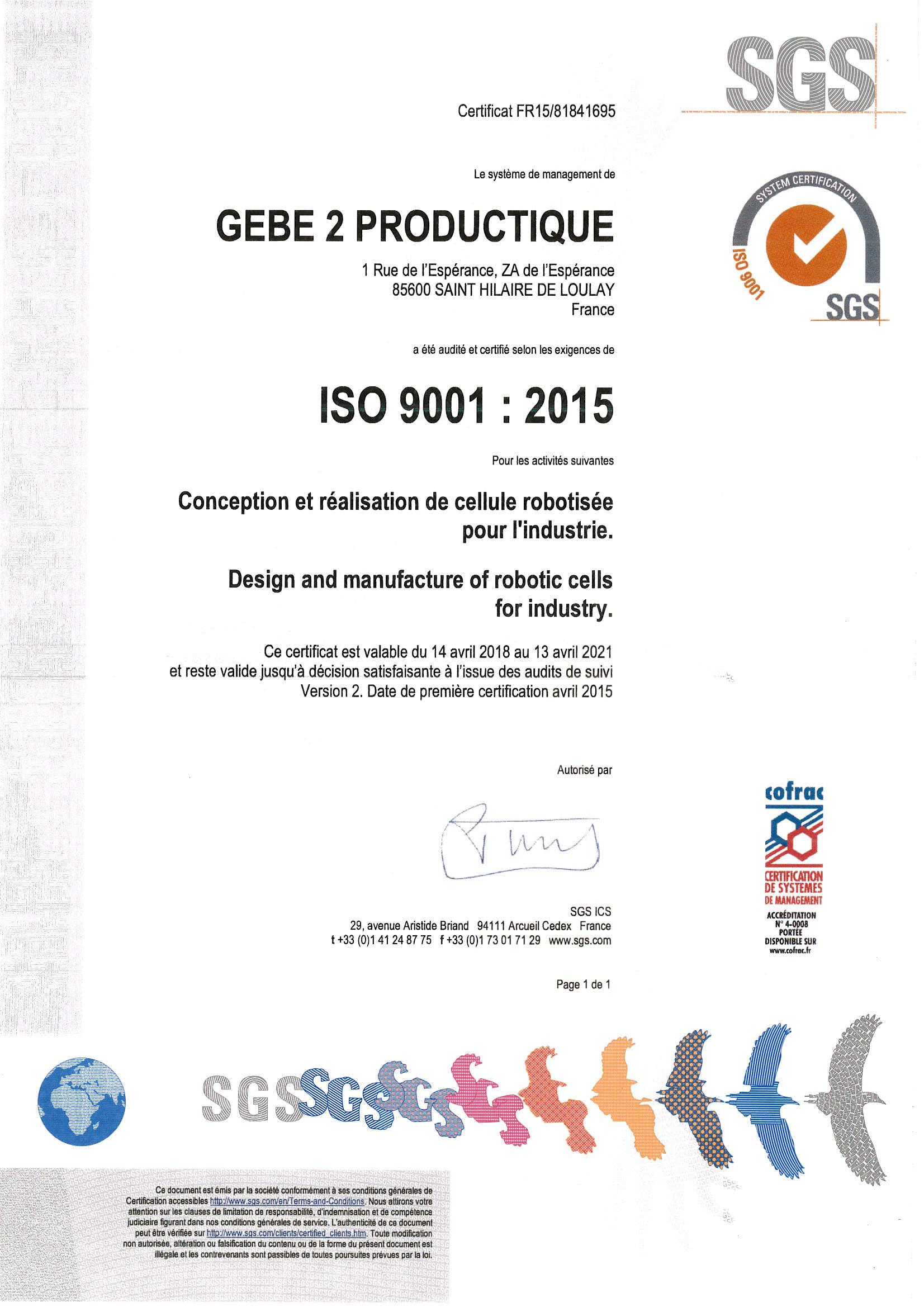 2019 Certificat ISO9001 GEBE2